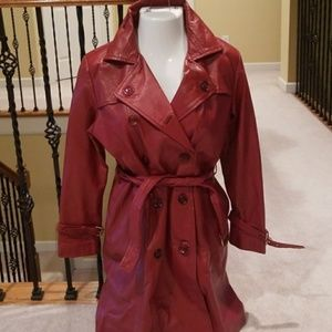 Double Breasted Oxblood Genuine Leather Trench